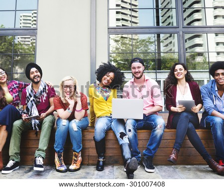 Diverse Group People Hanging Out Campus Concept - stock photo