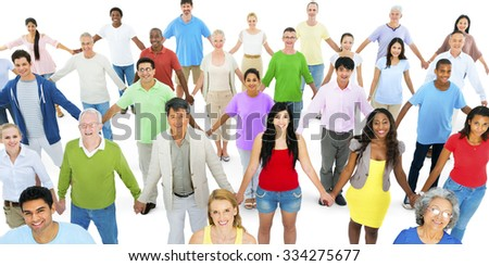 Diverse Group People Kids Holding Hands Concept