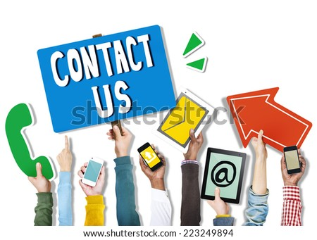 Diverse Hands Holding Communication Symbols - stock photo