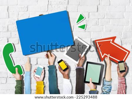 Diverse Hands Holding Communication Symbols - stock photo