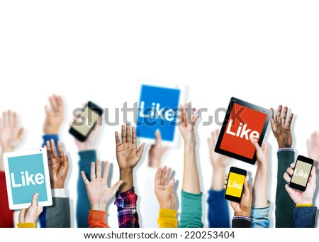 Diverse Hands Holding Devices with the Word Like - stock photo