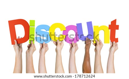 Diverse Hands Holding Discount - stock photo