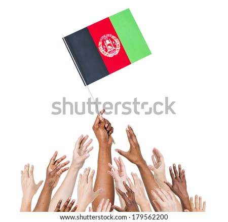 Diverse Hands Holding Flag of Afghanistan - stock photo