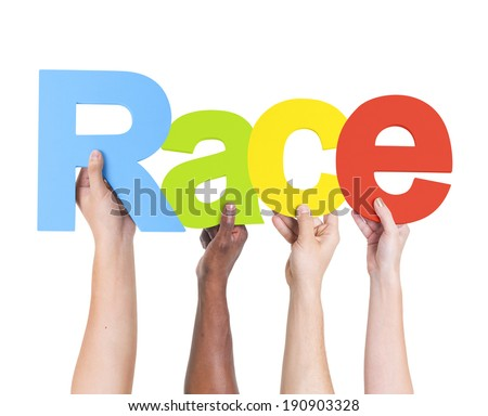 Diverse Hands Holding The Word Race - stock photo