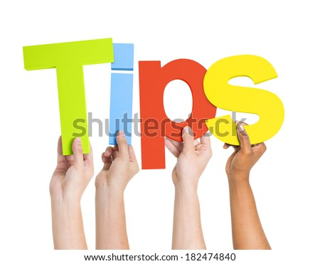 Diverse Hands Holding The Word Tips - stock photo