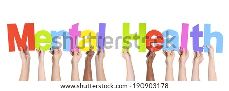 Diverse Hands Holding The Words Mental Health - stock photo