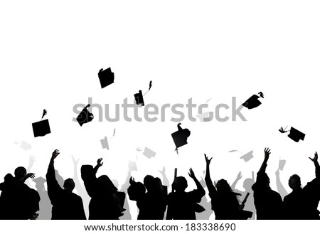 Diverse International Students Celebrating Graduation And Throwing Caps - stock photo
