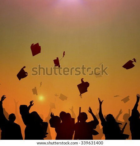 Diverse International Students Celebrating Graduation Concept - stock photo