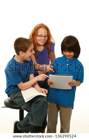 diverse kids reading scripts and having fun