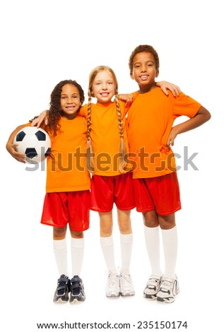 diverse looking soccer team isolated on white  - stock photo