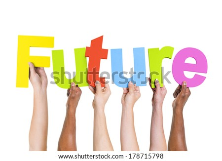Diverse Multi-ethnic Hands Holding Future - stock photo