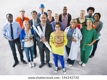 Diverse Multiethnic People with Different Jobs - stock photo
