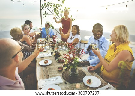 Diverse People Cheers Celebration Food Concept