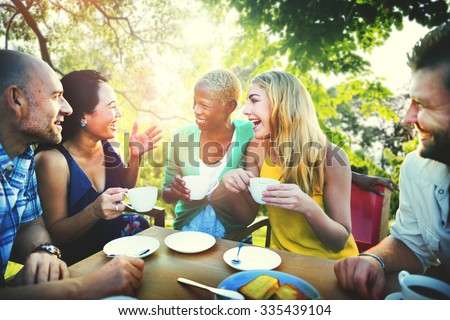Diverse People Coffee Shop Outdoors Chat Concept - stock photo