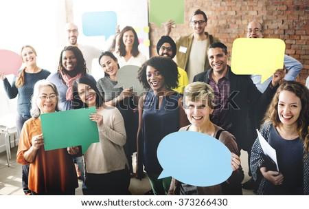 Diverse People Communication Speech Bubble Concept - stock photo
