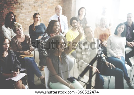Diverse People Conference Asking Group Concept - stock photo