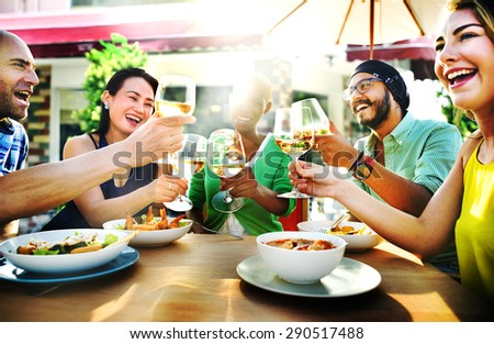 Diverse People Friends Hanging Out Drinking Concept - stock photo