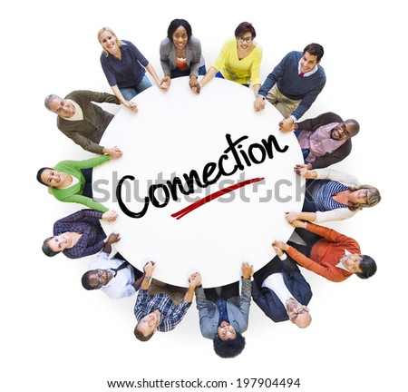 Diverse People in a Circle with Connection Concept - stock photo