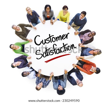 Diverse People in a Circle with Customer Satisfaction Concept - stock photo