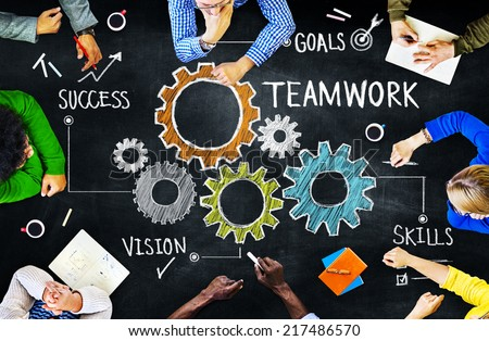 Diverse People in a Meeting and Teamwork Concept - stock photo