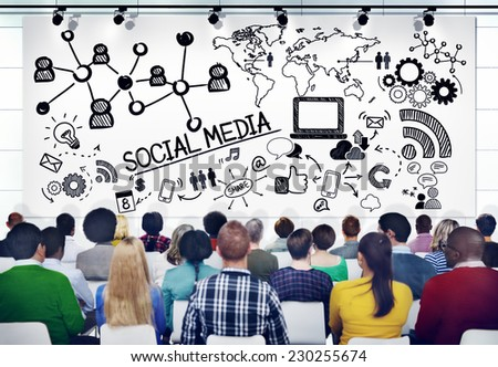 Diverse People in a Seminar About Social Media - stock photo