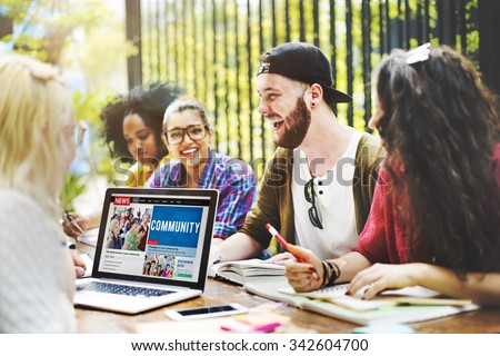 Diverse People Studying Students Campus Concept - stock photo