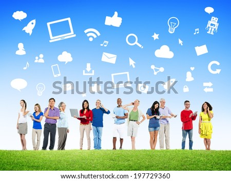 Diverse People Using Digital Devices with Social Media Symbols - stock photo