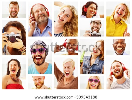 Diverse People Variation Portraits Summer Concept - stock photo