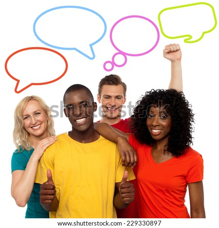 Diverse people with colorful dialog speech bubbles
