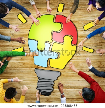 Diverse People with Teamwork and Innovation Concepts - stock photo