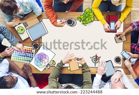 Diverse People Working and Copy Space - stock photo