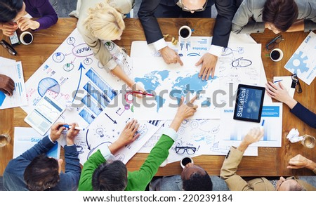 Diverse People Working and Global Business Concept - stock photo