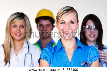Diverse professions smiling at the camera - Doctor, businesswoman, engineer, scientist - stock photo