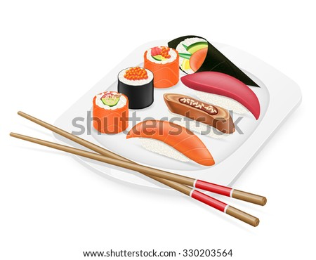 diverse set of sushi with chopsticks on a plate illustration isolated on white background - stock photo