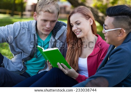 Diverse students learning together in a park - stock photo