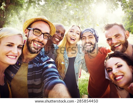 Diverse Summer Friends Fun Bonding Selfie Concept - stock photo
