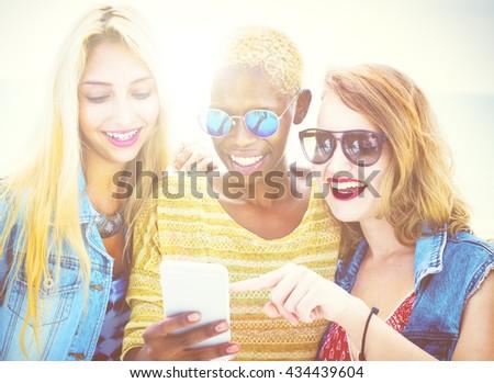 Diverse Summer Friends Fun Bonding Smart Phone Concept - stock photo