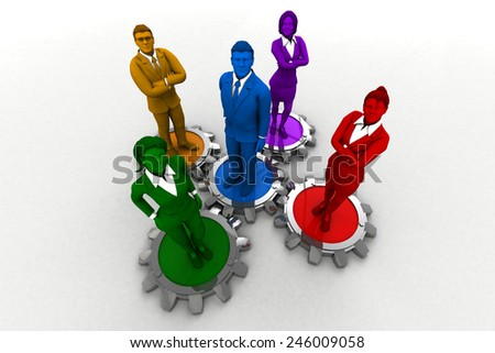Diverse team on Gears.A diverse team that performs like clockwork gears. - stock photo