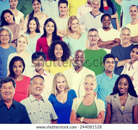 Diversity Casual People Teamwork Happiness Support Concept - stock photo