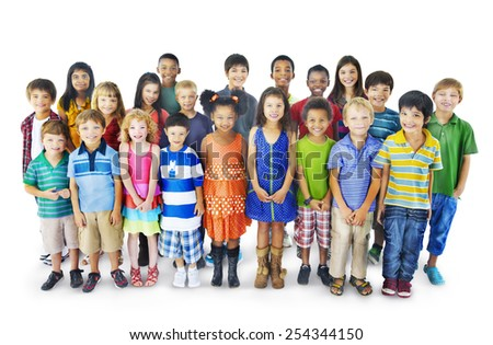 Diversity Childhood Children Happiness Innocence Friendship Concept - stock photo