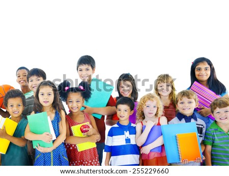 Diversity Childhood Children Happiness Innocence Friendship Concept - stock photo