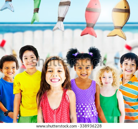 Diversity Children Smiling Summer Happy Concept - stock photo