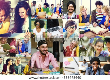 Diversity College Student Digital Devices Teamwork Concept - stock photo