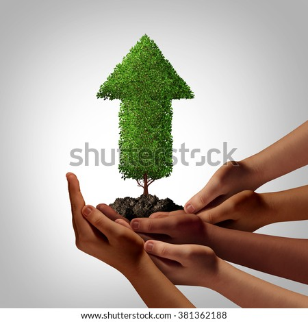Diversity community working together for success concept as a group of multiethnic people hands full of soil holding up an arrow tree as a global cooperation and team empowerment metaphor. - stock photo