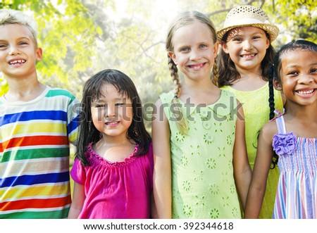 Diversity Friends Children Park Happiness Concept - stock photo