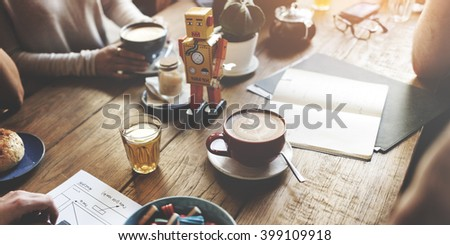 Diversity Friends Meeting Coffee Shop Brainstorming Concept - stock photo
