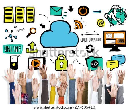 Diversity Hands Cloud Computing Data Support Volunteer Concept - stock photo