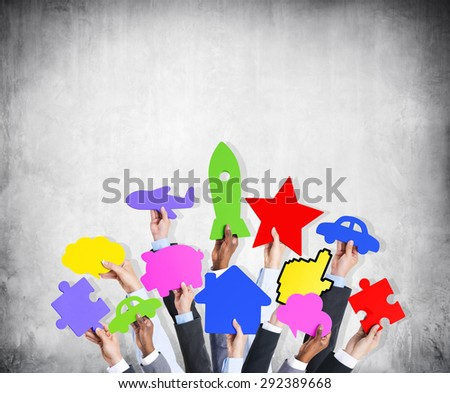 Diversity Hands Holding Variation Ideas Colorful Icons Concept