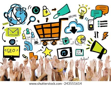 Diversity Hands Online Marketing Commerce Volunteer Support Concept - stock photo