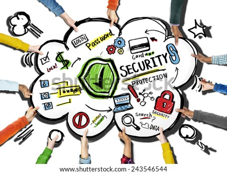 Diversity Hands Security Protection Information Concept - stock photo